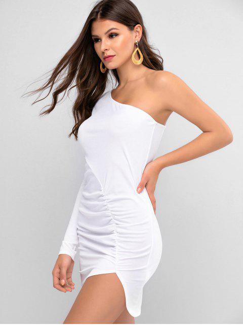 ZAFUL Vestido Ajustado con Un Hombro Acanalado - Blanco L Mobile