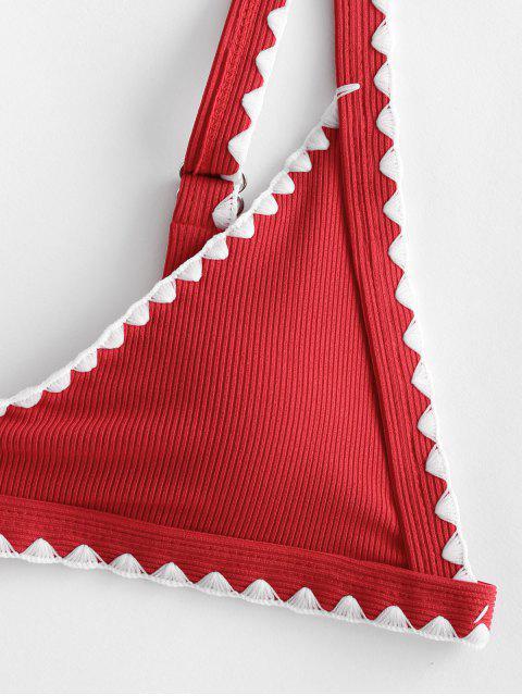ZAFUL Bikini Acanalado con Ribete - Rojo de Rubí M Mobile