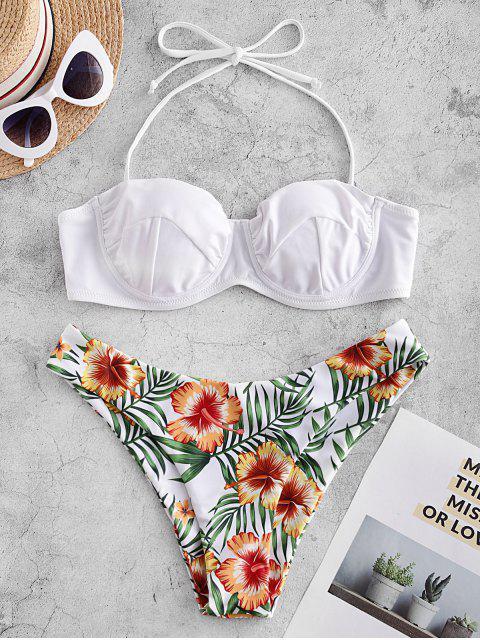ZAFUL Bikini Floral con Aros y Balconet - Blanco L Mobile