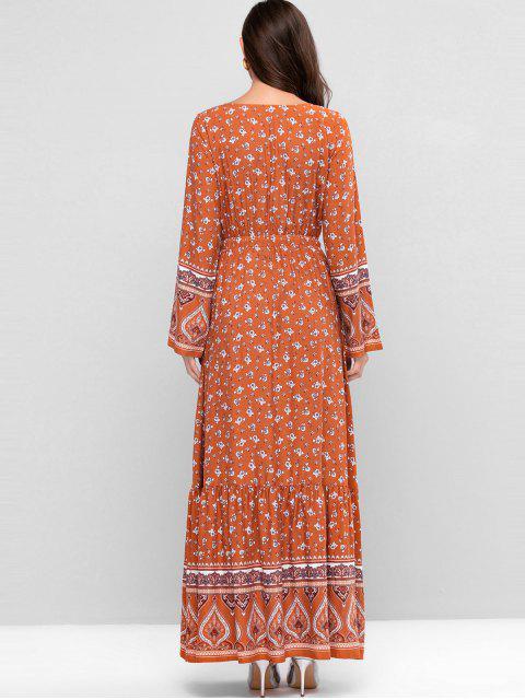 ZAFUL Maxi Vestido con Estampado de Bohemia con Cordón - Multicolor-C XL Mobile