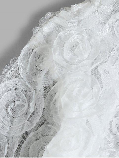 Sudadera Festoneado de Flores de Encaje - Blanco S Mobile