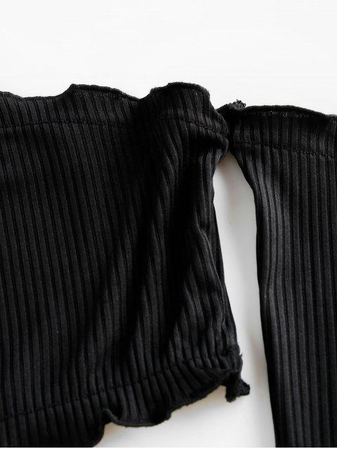 unique ZAFUL Off Shoulder Ribbed Cropped Tee - BLACK XL Mobile