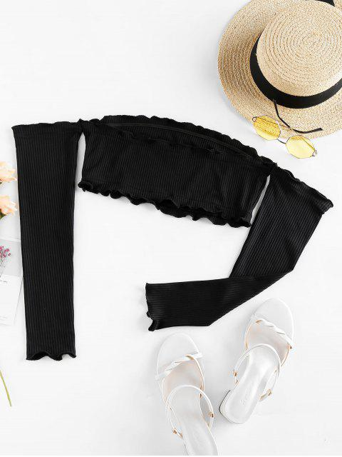 womens ZAFUL Off Shoulder Ribbed Cropped Tee - BLACK S Mobile