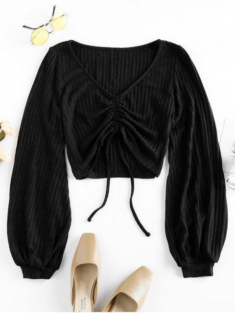 fashion ZAFUL Lantern Sleeve Cinched Cropped Sweater - BLACK M Mobile
