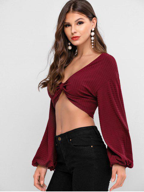 ZAFUL T-shirt Court à Manches Lanternes avec Nœud Papillon - Rouge Vineux L Mobile