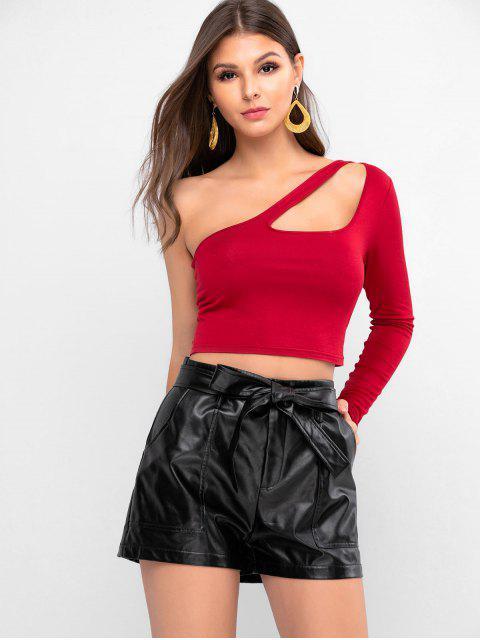 ZAFUL T-shirt Court Découpé à Une Epaule - Rouge Vineux L Mobile
