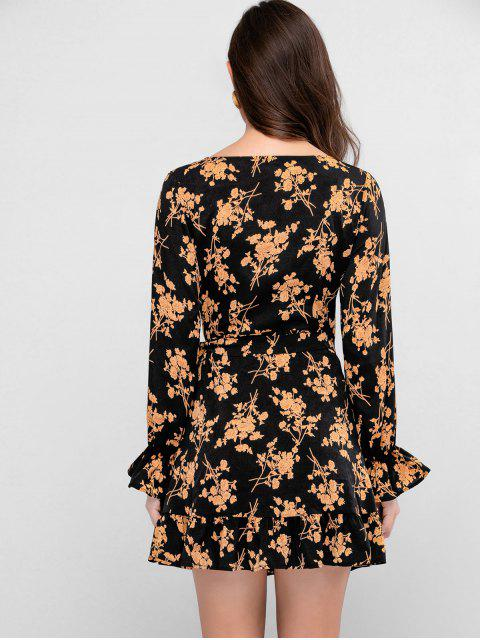 sale ZAFUL Flower Poet Sleeve Mini Wrap Dress - BLACK M Mobile