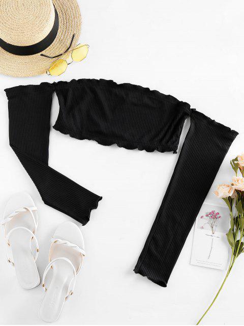 ZAFULオフショルダーリブクロップドTシャツ - ブラック XL Mobile