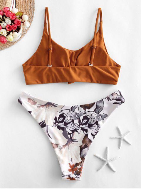 ZAFUL Maillot de Bain Bikini Fleuri Noué Clouté - Rouille L Mobile