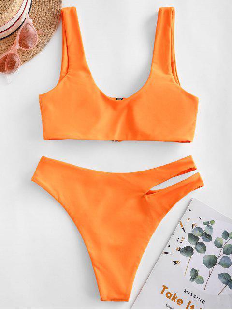 shop ZAFUL Zip Up Cutout Bikini Swimsuit - DARK ORANGE M Mobile
