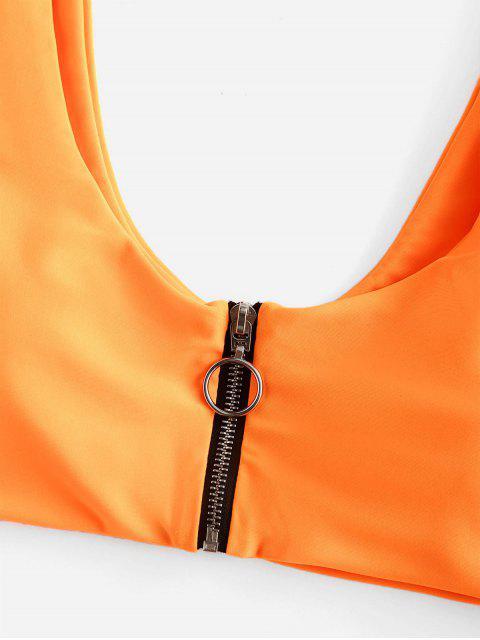 ZAFUL Bikini Recortado con Cremallera - Naranja Oscuro L Mobile