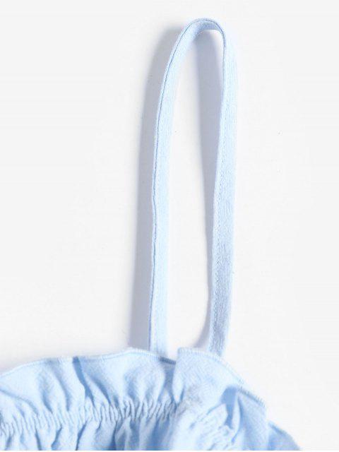 ZAFUL Top Cami Barriga de Fora com Franzido Cortado Sólido - Azul claro XL Mobile