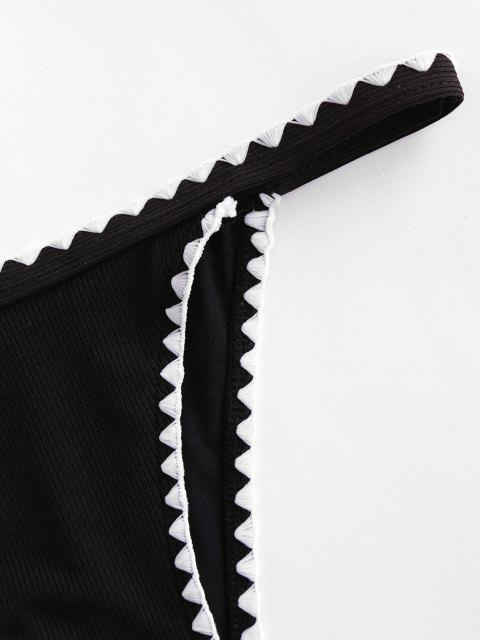 women's ZAFUL Whip Stitch Ribbed Bikini Bottom - BLACK M Mobile