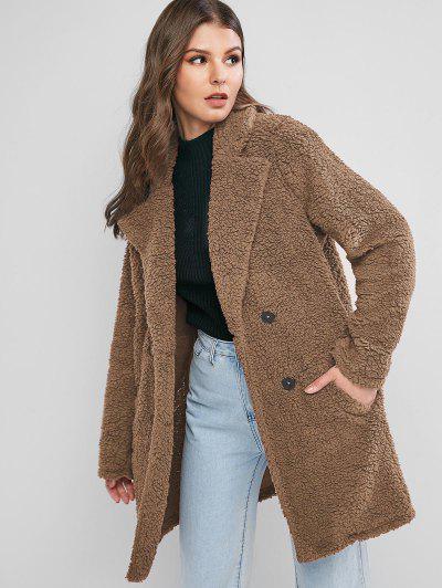 ZAFUL Lapel Pocket Longline Faux Fur Coat - Camel Brown M