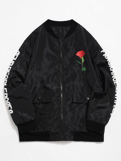 Chaqueta Casual Estampado Rosa Letras - Negro S