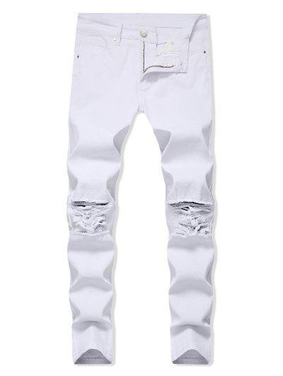Solid Color Ripped Design Zip Fly Jeans - White 34