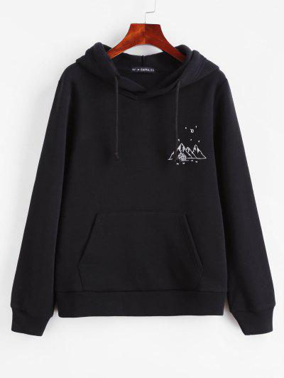 ZAFUL Embroidered Fleece Lined Kangaroo Pocket Hoodie - Black S
