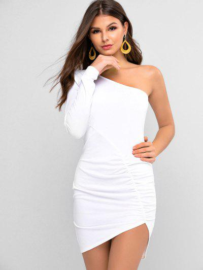 ZAFUL One Shoulder Ruched Bodycon Dress - White Xl