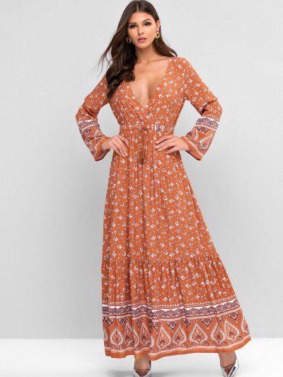 Bohemian Print Drawstring Tassels Maxi Dress