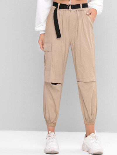 Belted Flap Pocket Jogger Pants