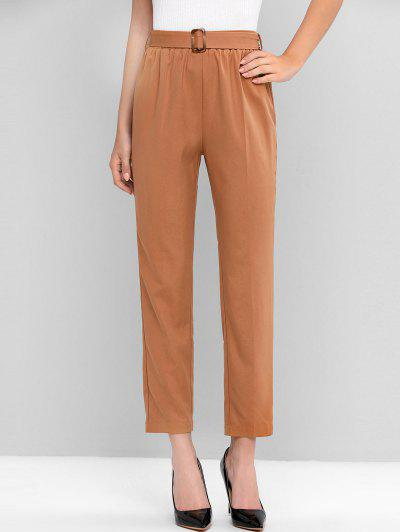 ZAFUL High Waist Belted Solid Pants
