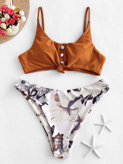 ZAFUL Studded Knot Floral Bikini Swimsuit - Rust M
