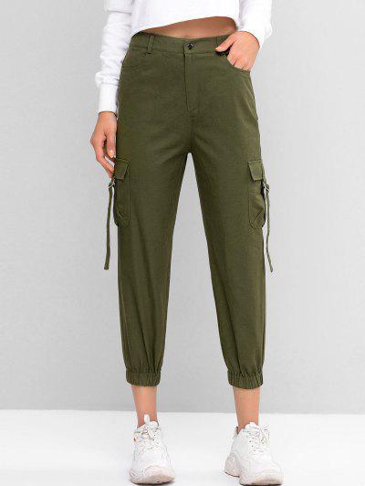 ZAFUL Pantalones Jogger De Cintura Alta De Color Sólido - Verde Camuflaje L