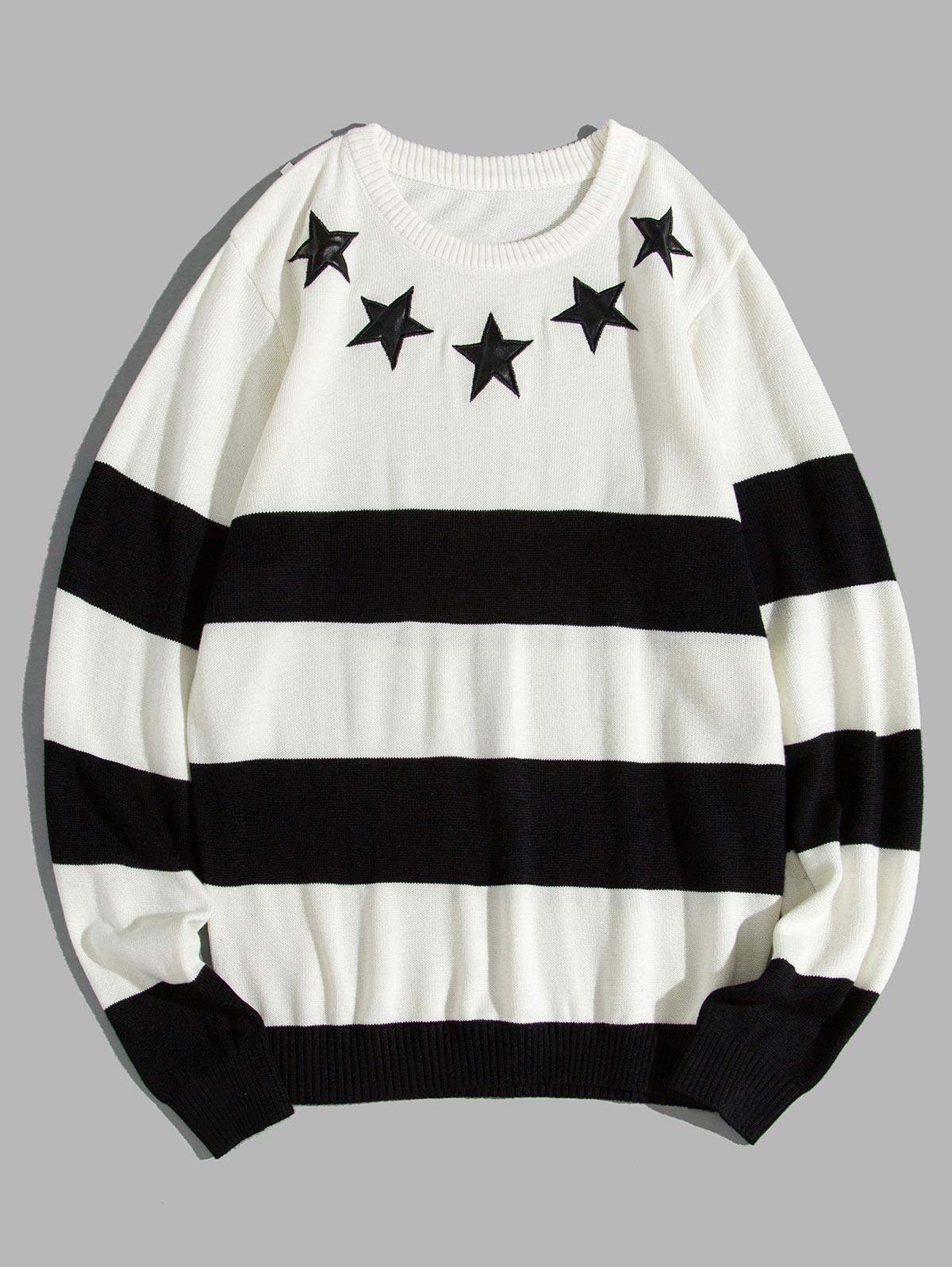 Star Striped Two Tone Crew Neck Sweater thumbnail