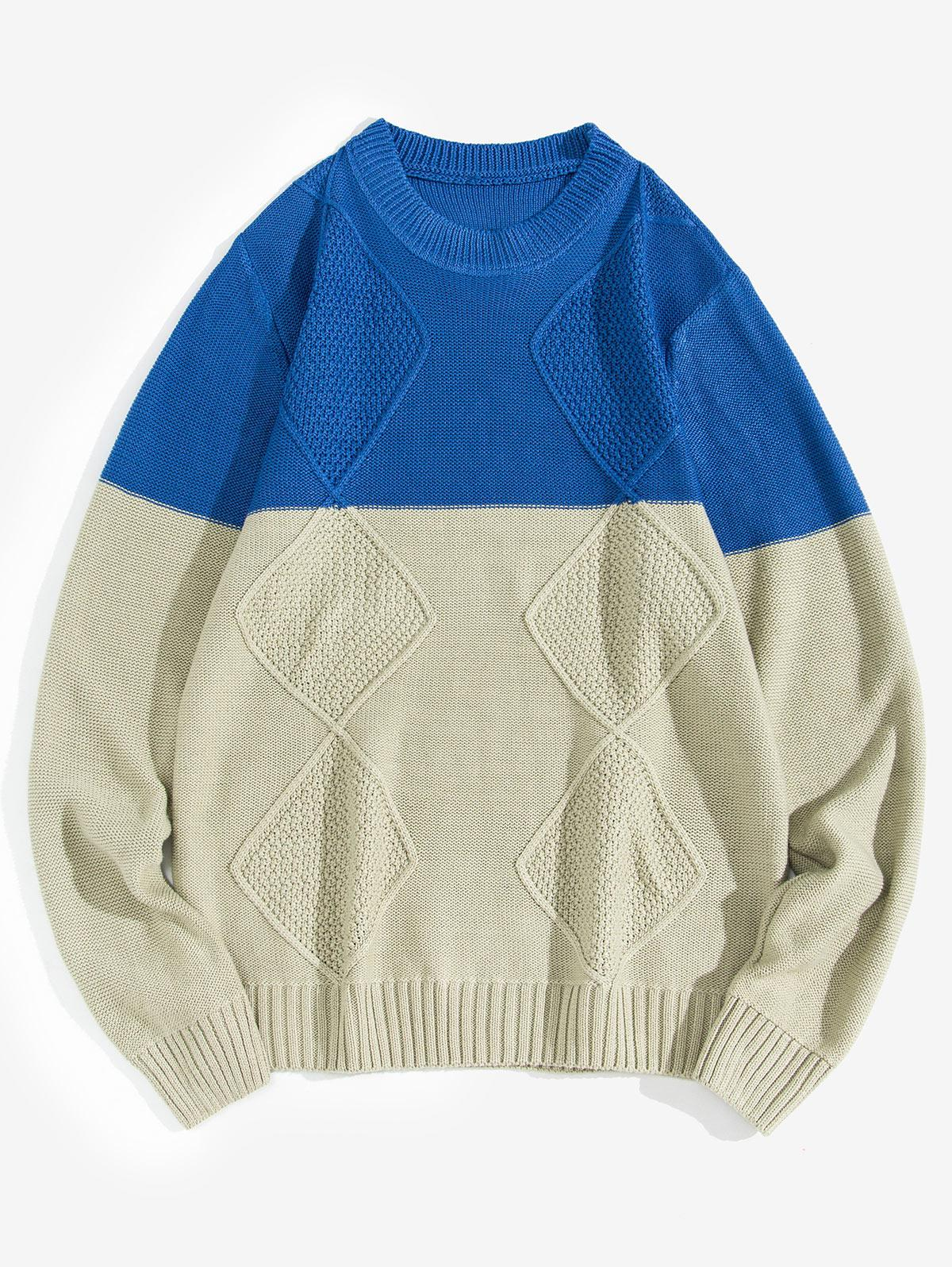 Contrast Color Geometric Pullover Sweater thumbnail