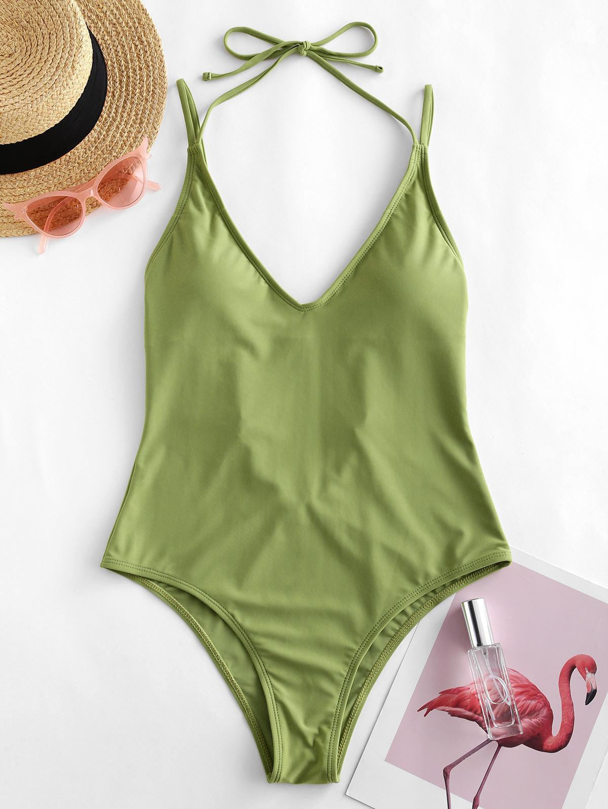 ZAFUL Halter High Cut Open Back One-piece Swimsuit фото