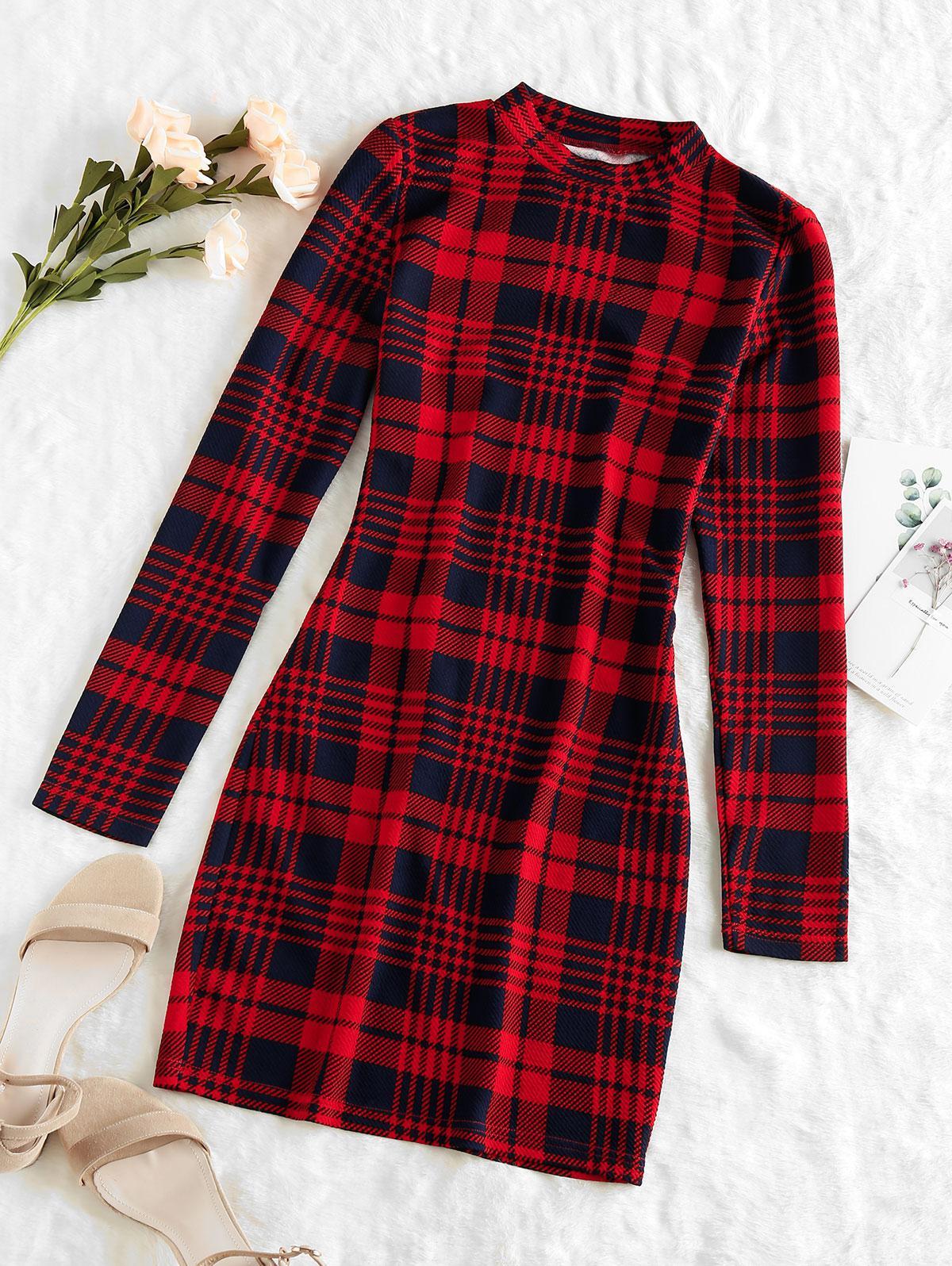 ZAFUL Plaid Houndstooth Bodycon Mini Dress
