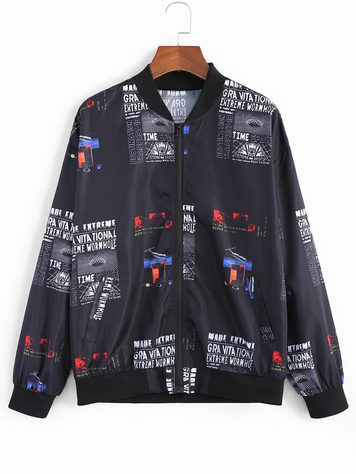 ZAFUL Printed Zip Fly Graphic Jacket