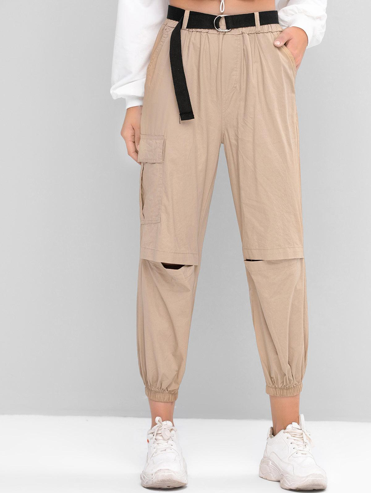 High Waisted Belted Flap Pocket Jogger Pants