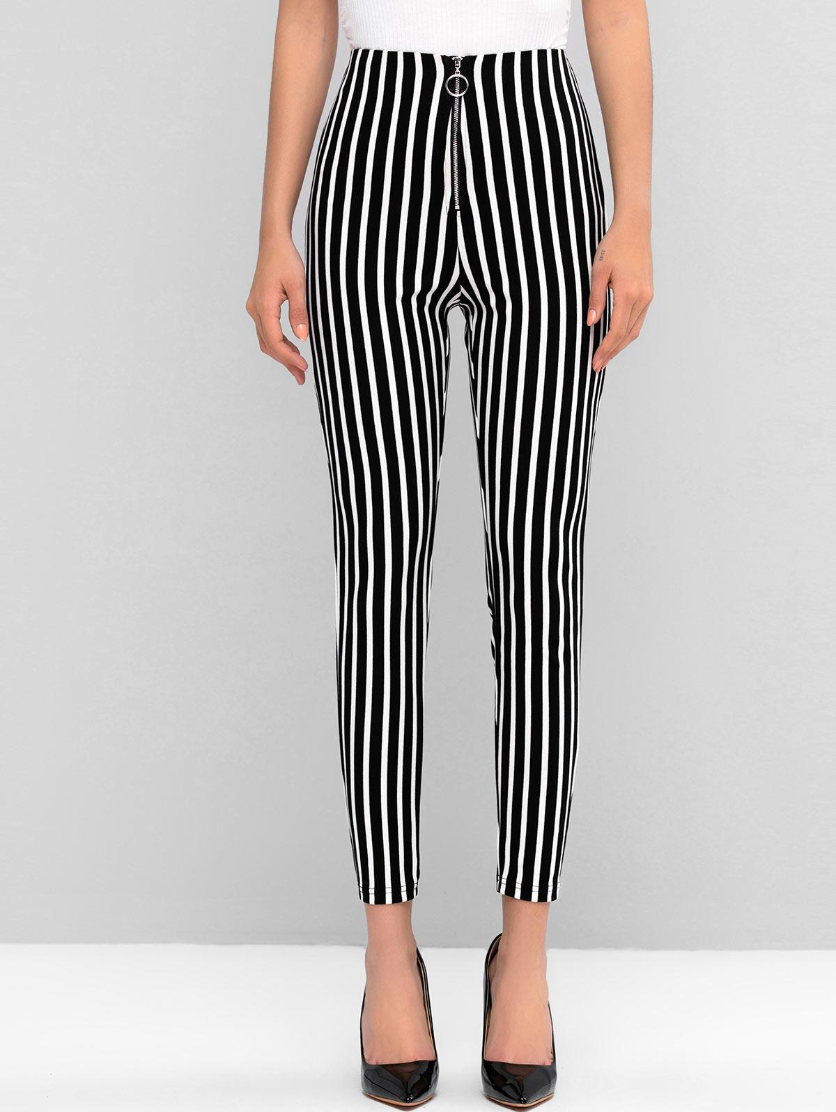 ZAFUL Striped High Waisted Pull Ring Zip Skinny Pants