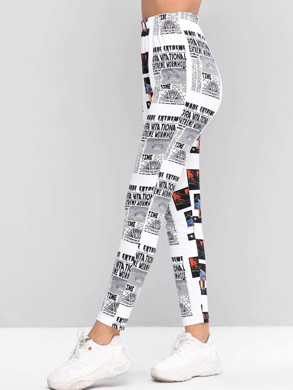 ZAFUL Newspaper Print High Waisted Skinny Leggings фото