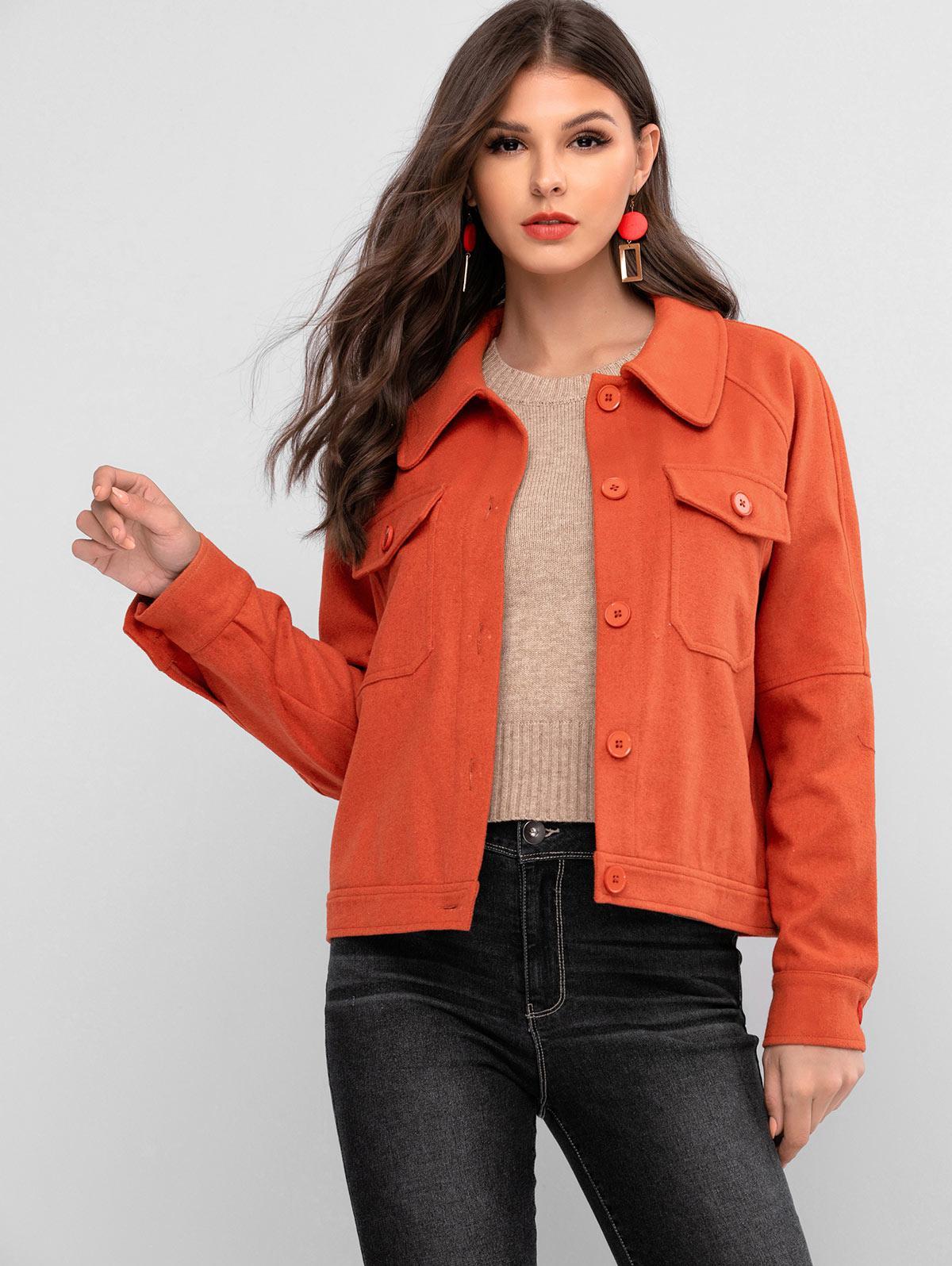 ZAFUL Raglan Sleeve Pocket Button Up Coat