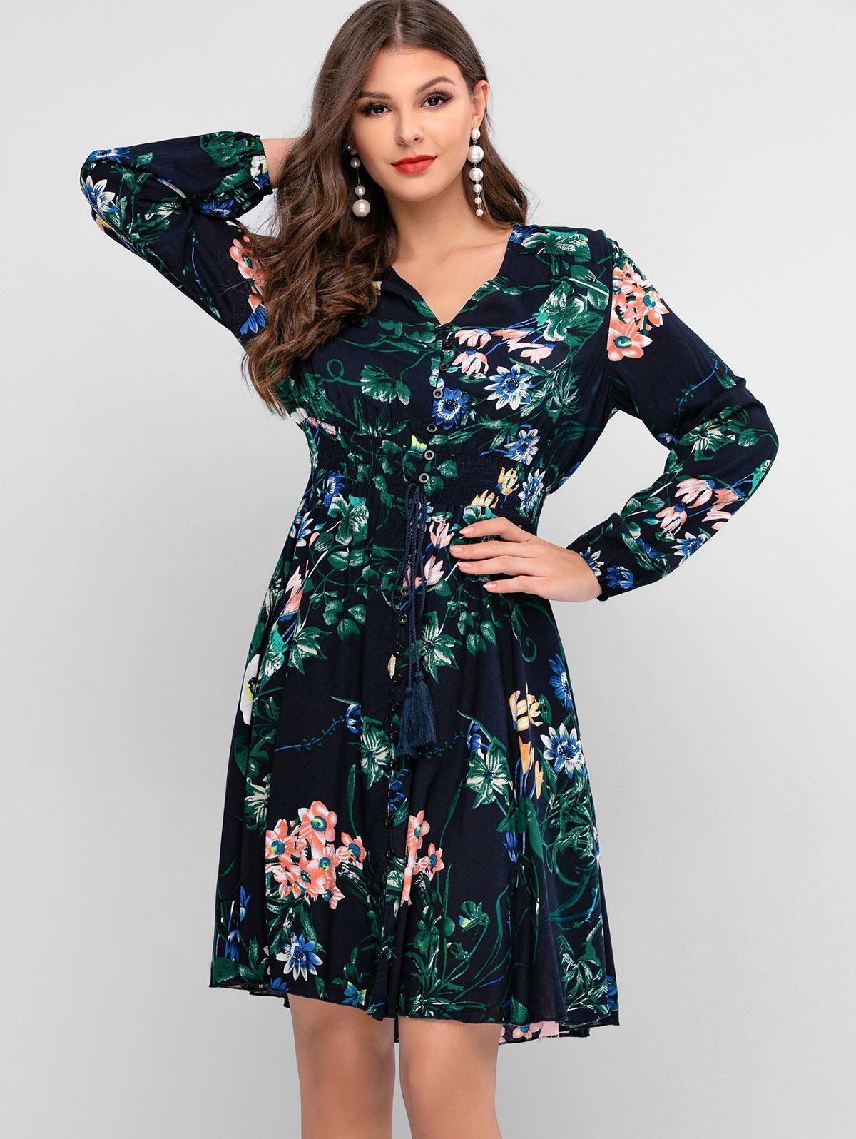 ZAFUL Button Loop Floral Tassels Long Sleeve Dress