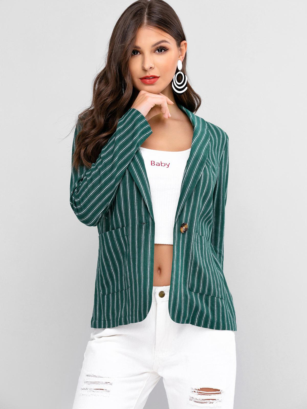 ZAFUL Striped One Button Shawl Collar Blazer фото