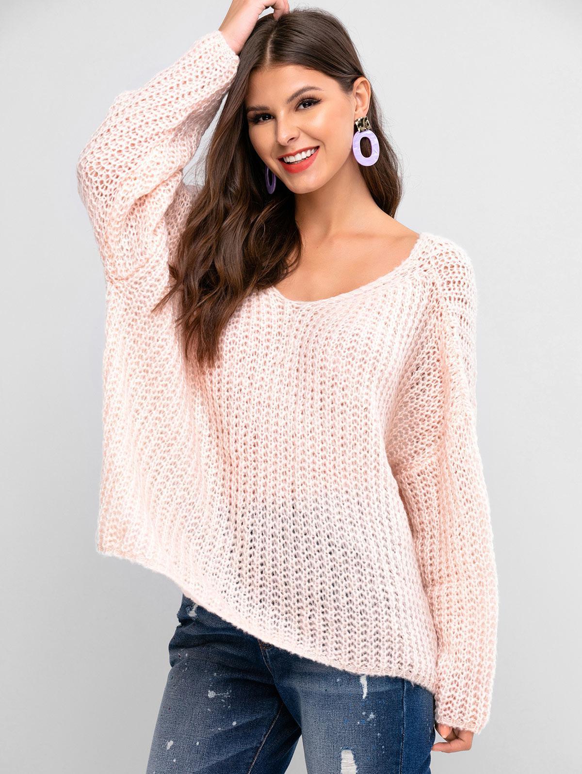 ZAFUL V Neck Solid Loose Knit Sweater