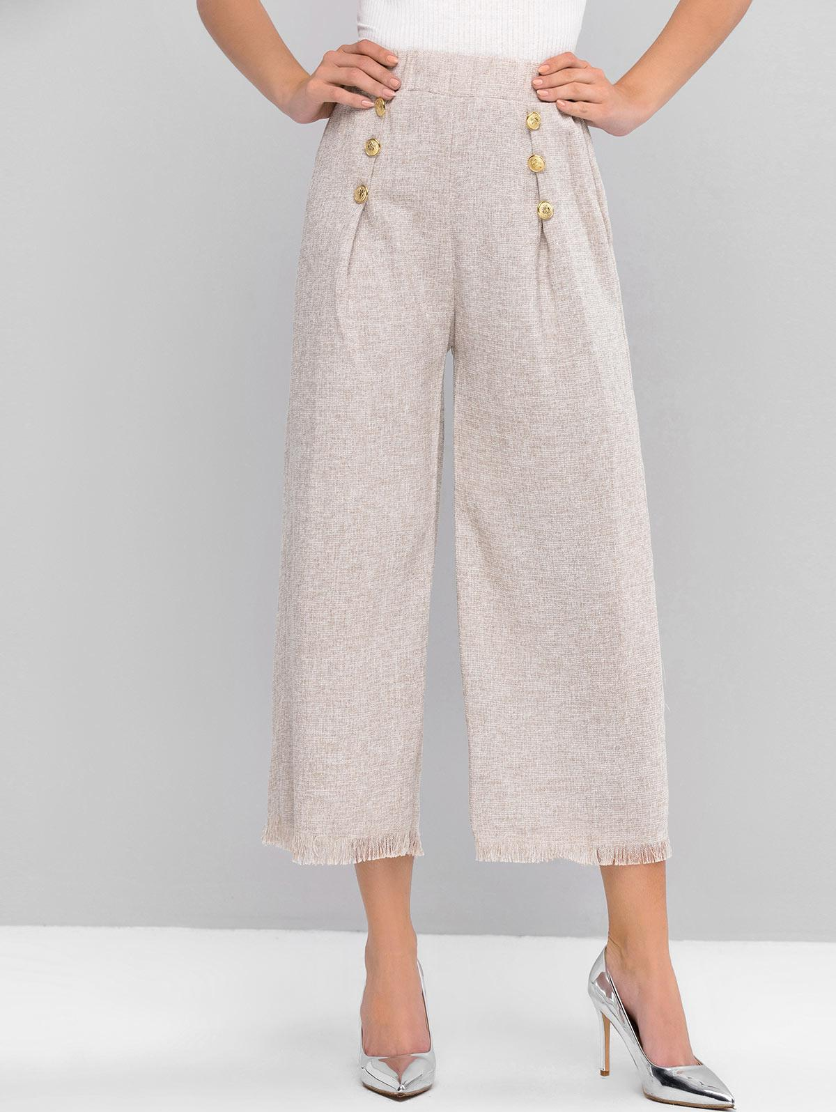 ZAFUL Buttoned Heathered Fringed Hem Wide Leg Pants