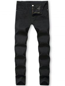 Solid Color Zip Fly Jeans
