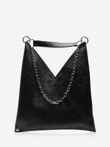 PU حقيبة جلدية الكتف سلسلة لينة - أسود