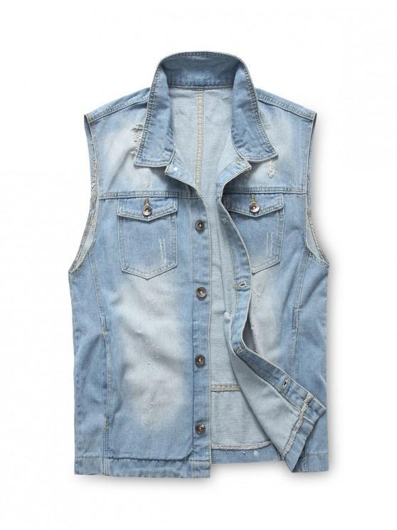 unique Scratch Chest Pocket Jean Waistcoat - DENIM BLUE L