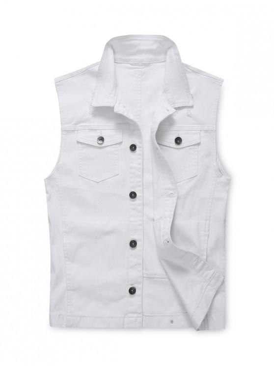 outfits Scratch Chest Pocket Jean Waistcoat - WHITE XL