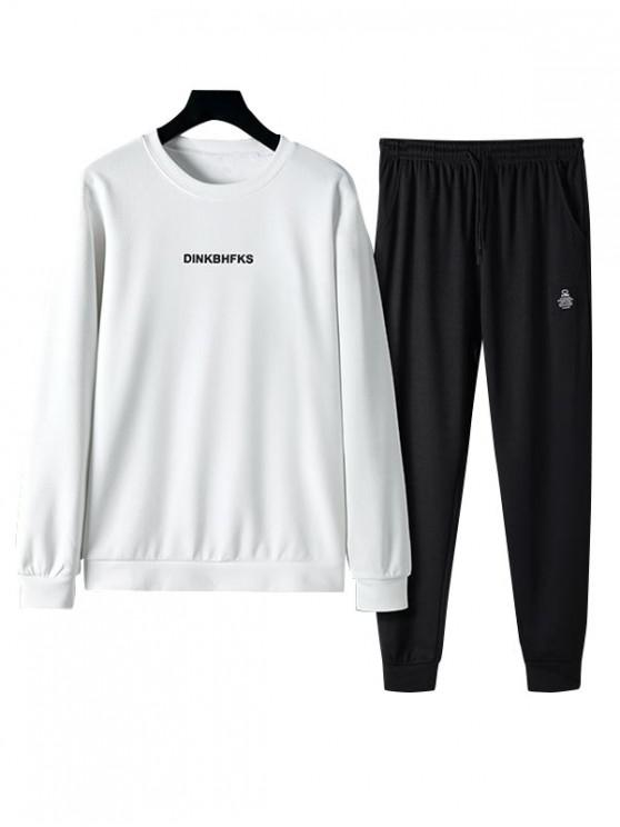 online Letter Printed Long-sleeved Sweatshirt and Pants - WHITE M