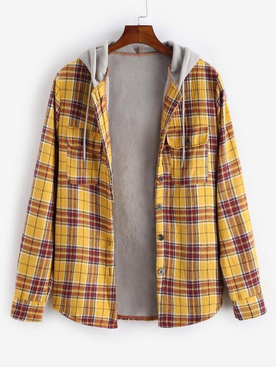 fancy Plaid Colorblock Splicing Hood Fleece Shirt Jacket - GOLDEN BROWN L