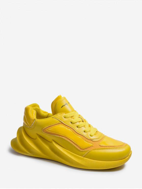 fashion Solid Mesh Patchwork Sneakers - YELLOW EU 41
