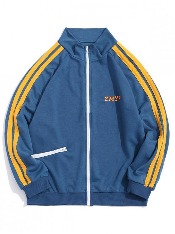 fancy Contrast Stripes Letter Embroidery Raglan Sleeve Jacket - BLUE GRAY M