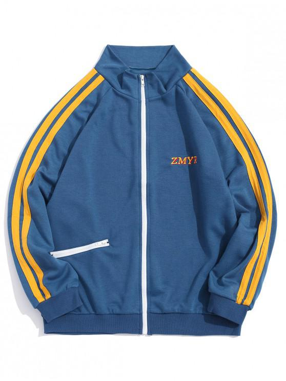 shop Contrast Stripes Letter Embroidery Raglan Sleeve Jacket - BLUE GRAY L