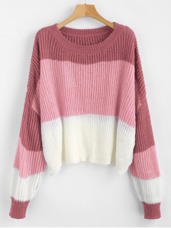 chic ZAFUL Oversized Stripes Sweater - MULTI-E ONE SIZE